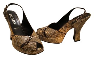 Prada Vintage Bought In Italy Gold and Black Snakeskin Pumps