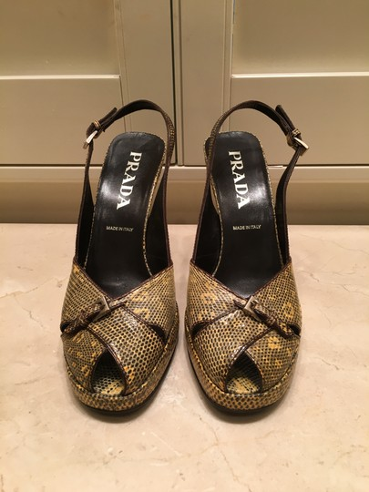 Prada Vintage Bought In Italy Gold and Black Snakeskin Pumps Image 1