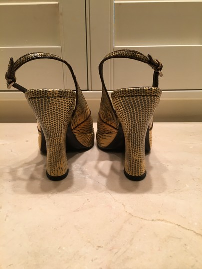 Prada Vintage Bought In Italy Gold and Black Snakeskin Pumps Image 2
