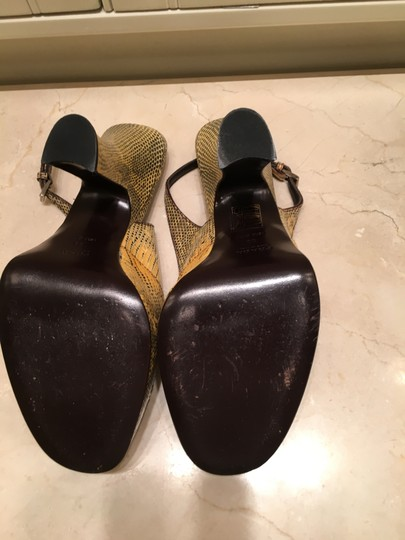 Prada Vintage Bought In Italy Gold and Black Snakeskin Pumps Image 3