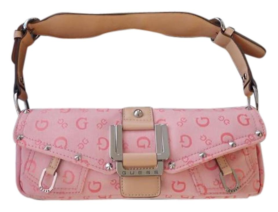 037bfd90f185 Guess   Cream Leather Pink Canvas Shoulder Bag - Tradesy