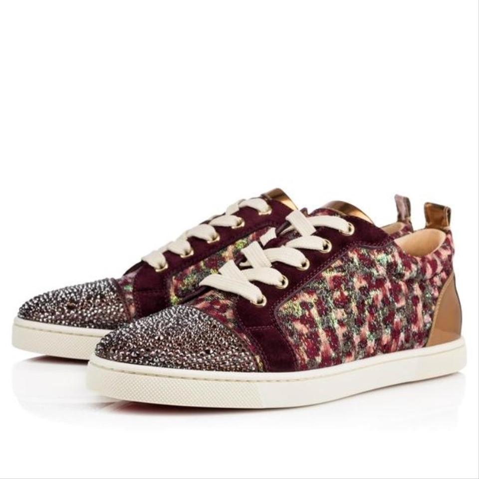 98a8364c914 Christian Louboutin Burgundy Gondolastrass Bordeaux Gold Strass Sneaker  Trainer Sneakers