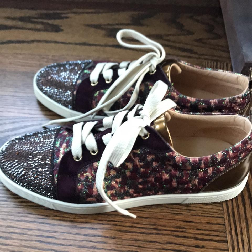 e56608aadd2a Christian Louboutin Burgundy Gondolastrass Bordeaux Gold Strass Sneaker  Trainer Sneakers Size EU 40 (Approx. US 10) Regular (M