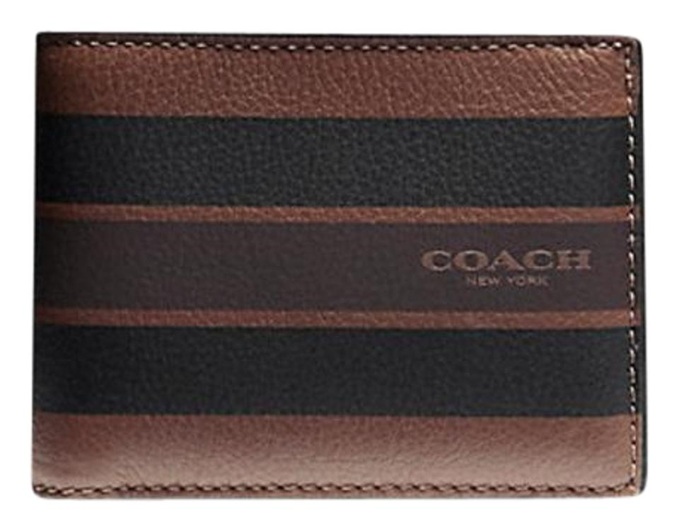 dbee8c0821ab Coach Black F75399 Leather Slim Billfold In Varsity Leather Wallet ...