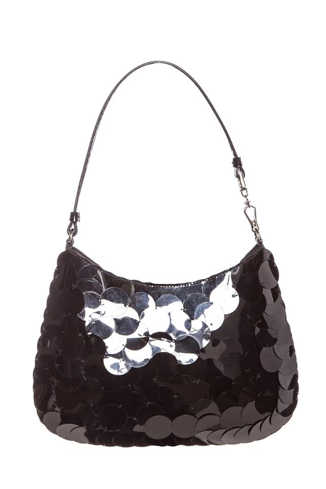 d0b46de469cb8 Prada Satin Embellishment Evening Handle Black Sequin Shoulder Bag 46% off  retail
