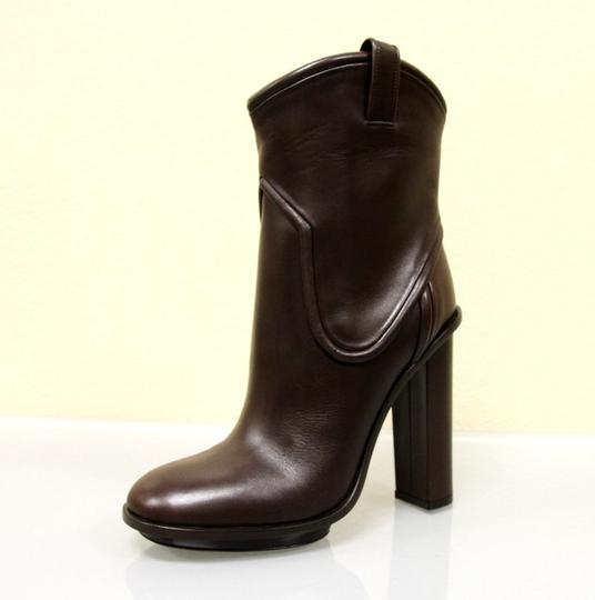 Gucci Runway Leather Platform Brown Boots Image 3