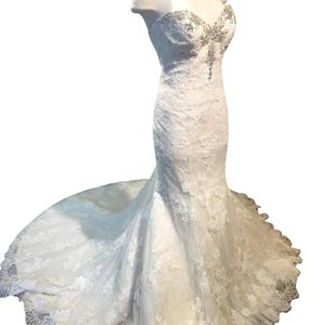 Maggie Sottero Ivory Over Champagne Amarosa Traditional Wedding Dress Size 12 (L)