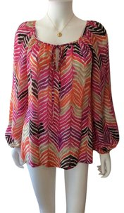 Trina Turk Flowy Print Top pink/white/brown/orange