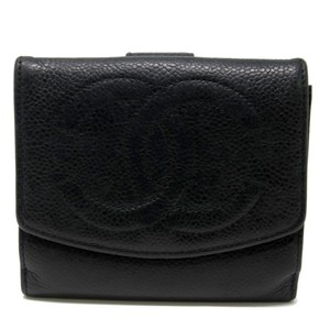 Chanel Classic CC Calfskin Caviar Leather French Compact Purse Wallet