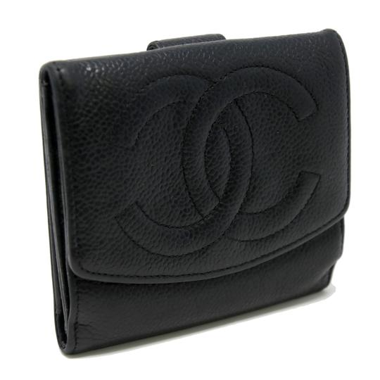 Chanel Classic CC Calfskin Caviar Leather French Compact Purse Wallet Image 1