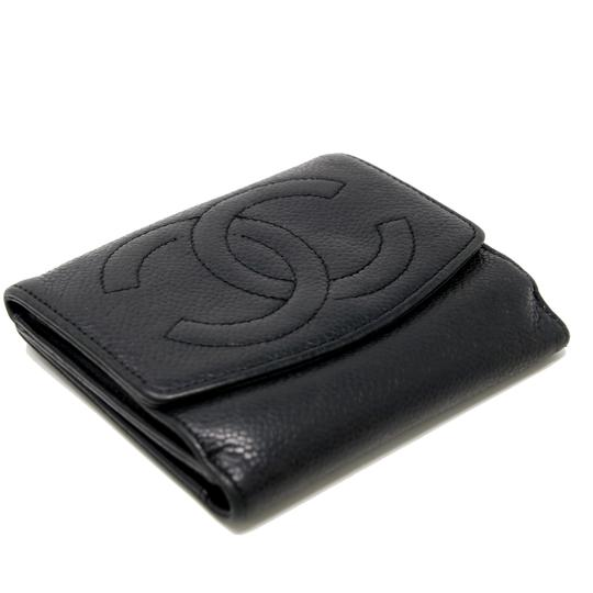 Chanel Classic CC Calfskin Caviar Leather French Compact Purse Wallet Image 3