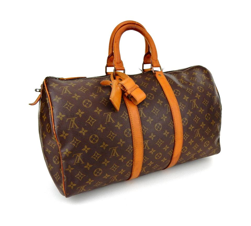 d25f4fb38ec5 Louis Vuitton Duffle Keepall 45 Monogram Leather Boston Brown Canvas Weekend  Travel Bag - Tradesy