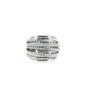 David Yurman David Yurman Sterling Silver .67tcw Diamond Dome Crossover Ring