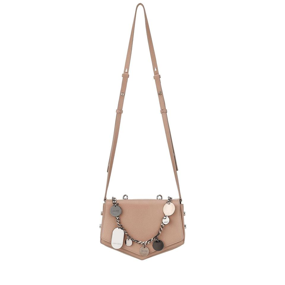 ef46640b6d7a1 Jimmy Choo Arrow Embellished Chain Ballet Pink Leather Cross Body ...
