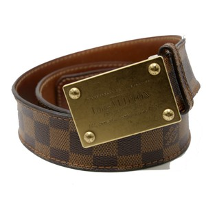 Louis Vuitton Signature Damier Monogram Mens Belt With Gold Hardware sz 90