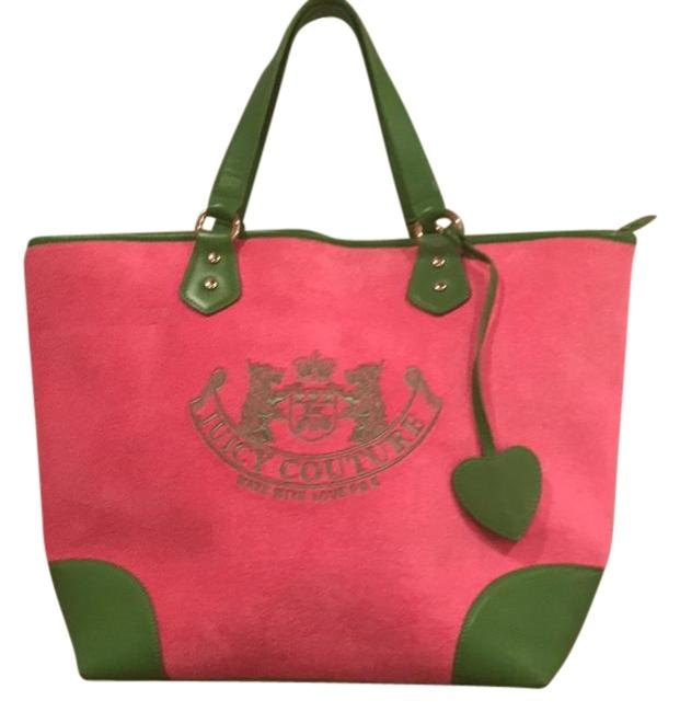 Item - Pink & Green Terry Cloth and Leather Trim Weekend/Travel Bag
