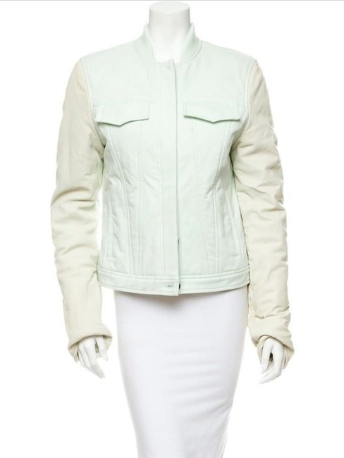 T by Alexander Wang Denim Zara Mint Motorcyce Green Leather Jacket Image 2