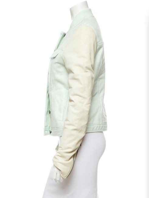 T by Alexander Wang Denim Zara Mint Motorcyce Green Leather Jacket Image 7