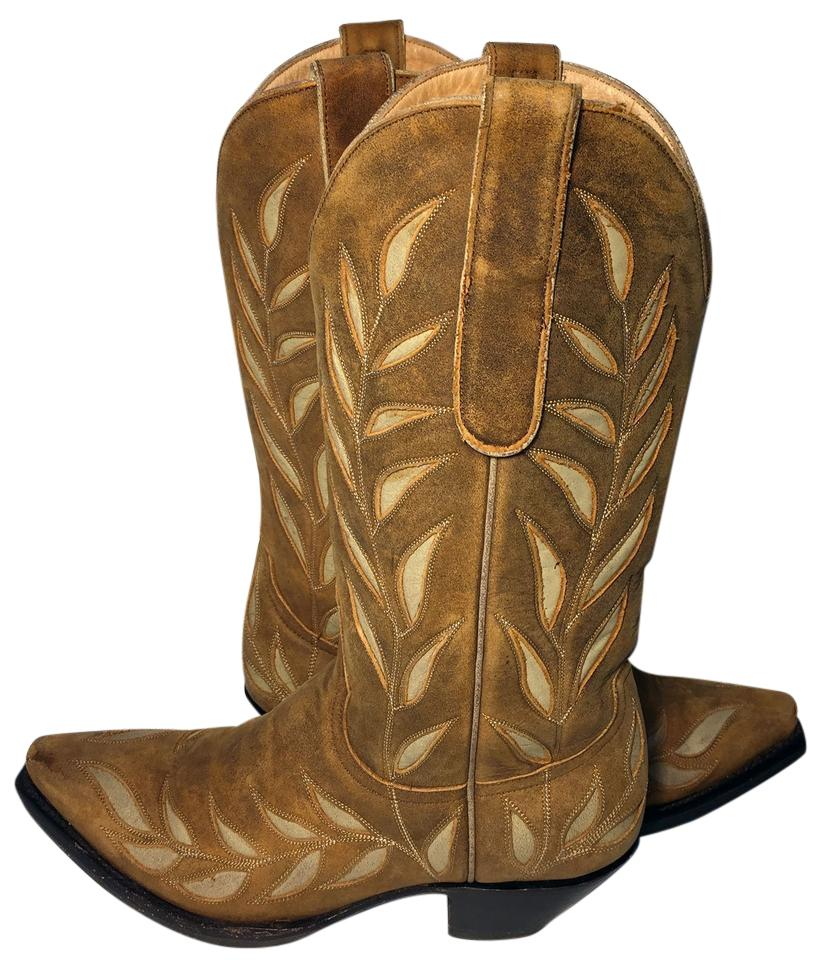 Old Floral Gringo Brown Floral Old Leather Cowgirl Women's Boots/Booties 93ac5f