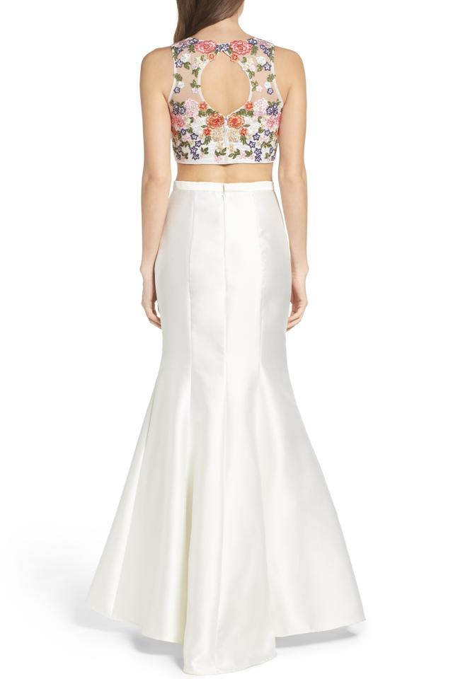 Xscape White and Multi Beaded Two-piece Mermaid Gown Long Formal ...