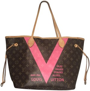 460e5fe0c56c Louis Vuitton Limited Edition Neverfull Monogram Mm Tote in Brown Canvas Pink  V