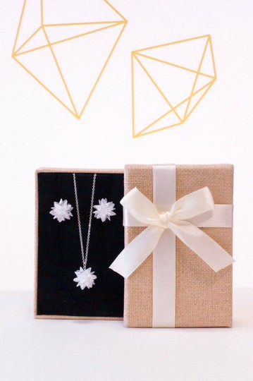 Ocean Fashion Fashion snowflake silver necklace set Image 3