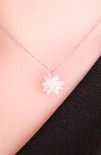 Ocean Fashion Fashion snowflake silver necklace set Image 5