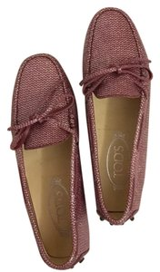 Tod's Loafers Pink Glitter Flats