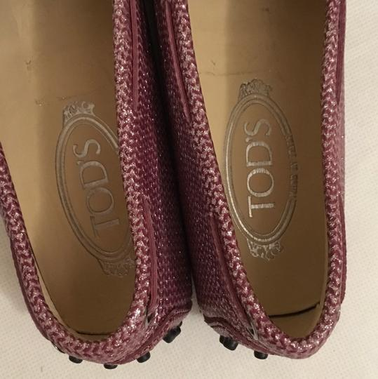 Tod's Loafers Pink Glitter Flats Image 1