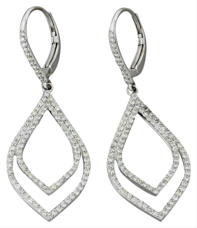 Others 14k Solid White Gold 2ctw Diamond Cer Chandelier Earrings