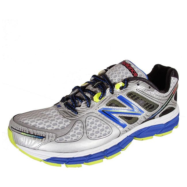 Item - Silver with Blue & Yellow Mens Stability Running Training Sneakers Size US 13 Regular (M, B)