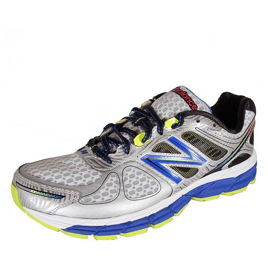 New Balance Mens Stability Running Training M860sb4 Silver with Blue & Yellow Athletic Image 4