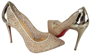 Christian Louboutin Pointed Toe Low-dipped Collar Gold Metallic Pumps