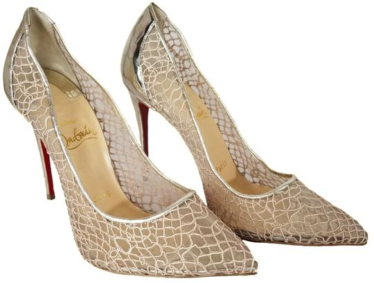 Christian Louboutin Pointed Toe Low-dipped Collar Gold Metallic Pumps Image 1