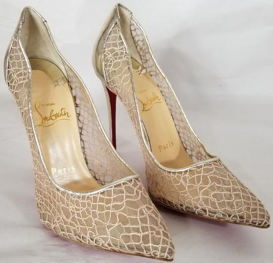 Christian Louboutin Pointed Toe Low-dipped Collar Gold Metallic Pumps Image 2