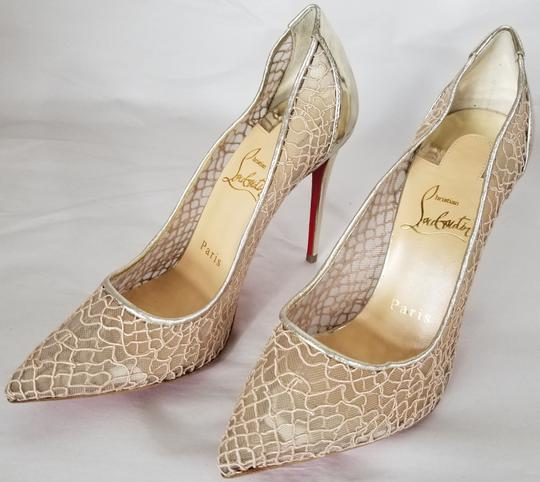 Christian Louboutin Pointed Toe Low-dipped Collar Gold Metallic Pumps Image 3