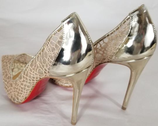 Christian Louboutin Pointed Toe Low-dipped Collar Gold Metallic Pumps Image 5