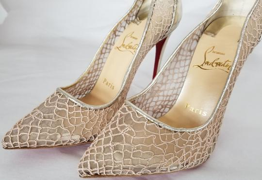 Christian Louboutin Pointed Toe Low-dipped Collar Gold Metallic Pumps Image 6