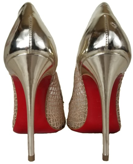Christian Louboutin Pointed Toe Low-dipped Collar Gold Metallic Pumps Image 7