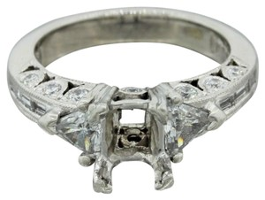 Tacori Platinum 1.36ct Trillion Round Cut Diamond Engagement Ring Setting