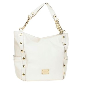 Michael Kors Delancy Ivory Leather Soft Leather Tote in Vanilla