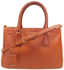 Prada Saffiano Lux Double Zip Calfskin Satchel in orange