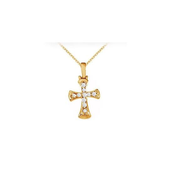 Marco B April Birthstone Cubic Zirconia Cross Pendant in 18K Yellow Gold Verme Image 0