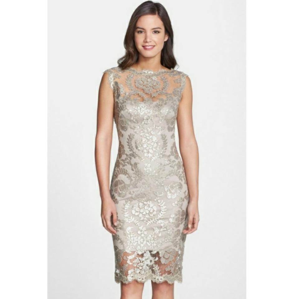 714ed0ad Tadashi Shoji Beige Sequin Illusion Lace Mid-length Cocktail Dress ...