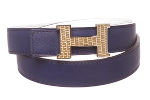 Herms Hermes Leather Reversible Constance 24mm Lizard H Buckle Belt 75