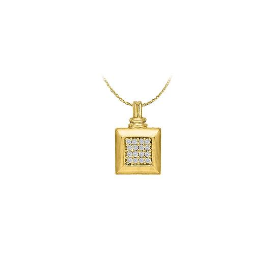 Preload https://img-static.tradesy.com/item/22378419/white-yellow-stylish-cubic-zirconia-square-pendant-in-18k-gold-vermeil-necklace-0-0-540-540.jpg