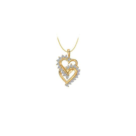 Marco B April birthstone Double Heart CZ Pendant Sterling Silver Image 0