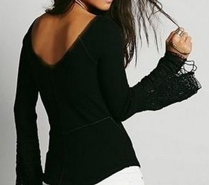 Free People Thermal Lace Cuff Sleeve Juliette Sleeves Sweater