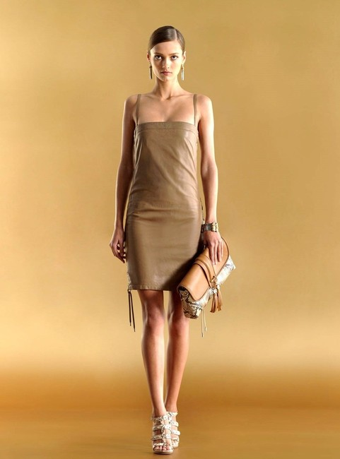 Item - Brown W Runway Leather W/Lace-up Design 40 259615 Mid-length Night Out Dress Size 4 (S)