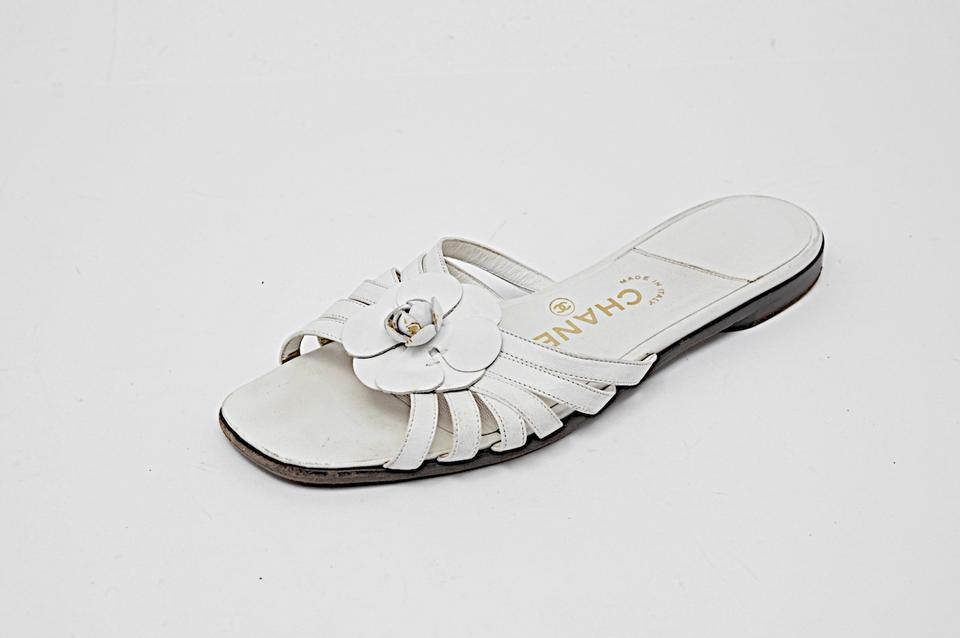 Chanel White Leather Strappy Flat Slides With Flower Sandals Size Eu